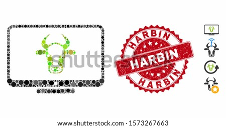 Mosaic cattle monitor icon and rubber stamp seal with Harbin phrase. Mosaic vector is composed with cattle monitor icon and with scattered spheric elements. Harbin stamp uses red color,
