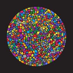 Mosaic circle. Ceramic tile texture. Bright colors.