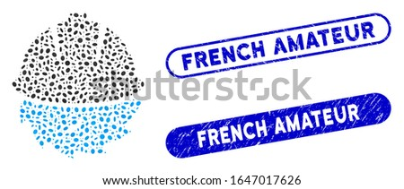 Mosaic circular blade safety and rubber stamp watermarks with French Amateur text. Mosaic vector circular blade safety is composed with randomized ellipse parts.