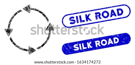 Mosaic circular route and grunge stamp seals with Silk Road text. Mosaic vector circular route is designed with scattered rectangle items. Silk Road stamp seals use blue color,