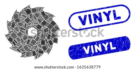 Mosaic circular saw and rubber stamp seals with Vinyl phrase. Mosaic vector circular saw is designed with scattered rectangles. Vinyl stamp seals use blue color, and have round rectangle shape.