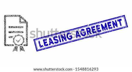 Mosaic contract document and grunge stamp seal with Leasing Agreement caption. Mosaic vector contract document is created with scattered rectangle items. Leasing Agreement stamp seal uses blue color.