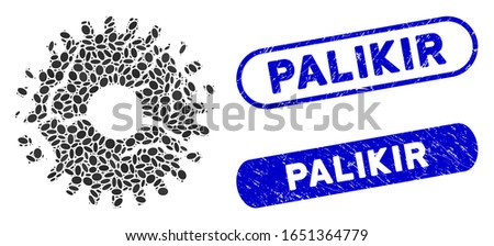 Mosaic corrupted gear and corroded stamp seals with Palikir phrase. Mosaic vector corrupted gear is designed with scattered elliptic dots. Palikir stamp seals use blue color,