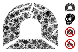 Mosaic corrupted tunnel organized from flu virus icons in various sizes and color hues. Vector viral icons are organized into abstract mosaic corrupted tunnel icon. Some bonus icons are added.