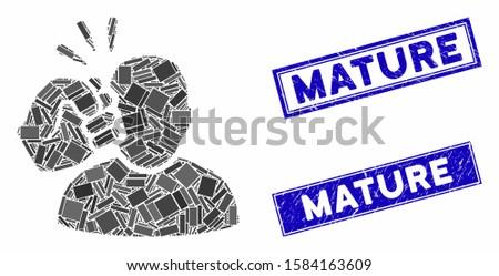 Mosaic crime violation fist strike pictogram and rectangular Mature seals. Flat vector crime violation fist strike mosaic pictogram of randomized rotated rectangular elements.
