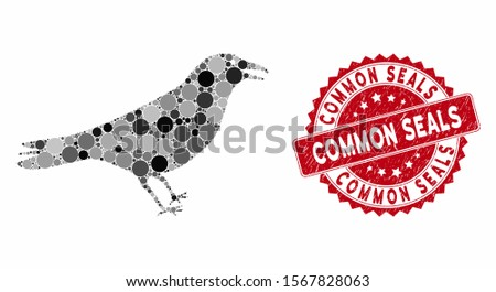 Mosaic crow and corroded stamp seal with Common Seals text. Mosaic vector is designed with crow icon and with random spheric elements. Common Seals seal uses red color, and dirty design.