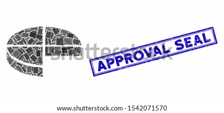 Mosaic 3d pie chart and grunge stamp seal with Approval Seal caption. Mosaic vector 3d pie chart is formed with random rectangles. Approval Seal stamp seal uses blue color.