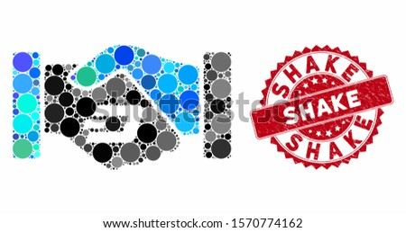 Mosaic Dash contract hands and rubber stamp seal with Shake caption. Mosaic vector is composed with Dash contract hands icon and with randomized circle elements. Shake stamp seal uses red color,