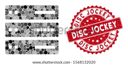Mosaic data storage and distressed stamp watermark with Disc Jockey text. Mosaic vector is composed with data storage icon and with scattered spheric elements. Disc Jockey stamp seal uses red color,
