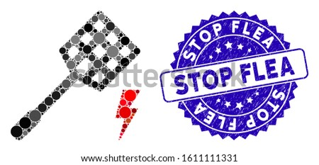 Mosaic electric fly killer icon and distressed stamp seal with Stop Flea text. Mosaic vector is formed with electric fly killer icon and with randomized round items. Stop Flea seal uses blue color,