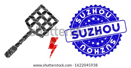 Mosaic electric fly killer icon and grunge stamp seal with Suzhou caption. Mosaic vector is designed with electric fly killer icon and with scattered ellipse spots. Suzhou seal uses blue color,