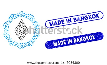 Mosaic Ethereum badge seal and grunge stamp watermarks with Made in Bangkok text. Mosaic vector Ethereum badge seal is formed with scattered oval dots. Made in Bangkok stamp seals use blue color,