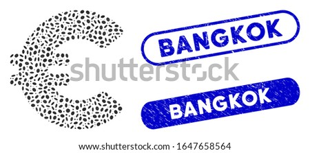 Mosaic Euro and distressed stamp seals with Bangkok text. Mosaic vector Euro is created with scattered ellipse dots. Bangkok stamp seals use blue color, and have round rectangle shape.