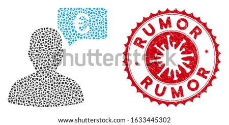Mosaic Euro user opinion icon and red round distressed stamp seal with Rumor phrase and coronavirus symbol. Mosaic vector is created with Euro user opinion icon and with randomized elliptic spots.