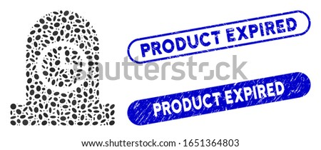 Mosaic expired grave and distressed stamp seals with Product Expired caption. Mosaic vector expired grave is composed with randomized ellipse spots. Product Expired seals use blue color,
