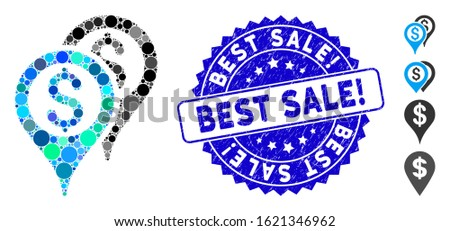 Mosaic financial map pointers icon and grunge stamp seal with Best Sale! text. Mosaic vector is created with financial map pointers icon and with randomized round elements.