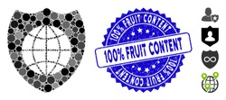 Mosaic global shield icon and grunge stamp seal with 100% Fruit Content text. Mosaic vector is designed with global shield icon and with randomized circle spots.
