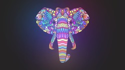 Mosaic glowing colorful elephant head on a black background