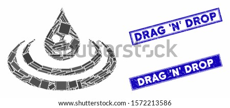 Mosaic happy drop Ripple pictogram and rectangle Drag 'N' Drop seal stamps. Flat vector happy drop Ripple mosaic pictogram of randomized rotated rectangle items. Foto stock ©