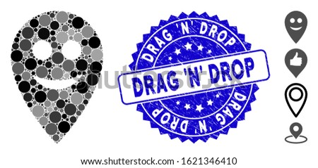 Mosaic happy map marker icon and corroded stamp seal with Drag 'N' Drop phrase. Mosaic vector is designed with happy map marker icon and with scattered round spots. Foto stock ©