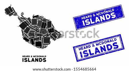 Mosaic Heard and McDonald Islands map and rectangular seal stamps. Flat vector Heard and McDonald Islands map mosaic of randomized rotated rectangular elements.