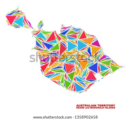 Mosaic Heard and McDonald Islands map of triangles in bright colors isolated on a white background. Triangular collage in shape of Heard and McDonald Islands map.
