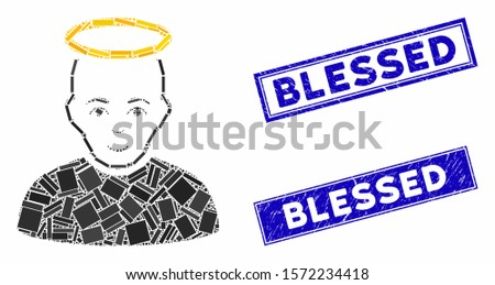 Mosaic holy man pictogram and rectangle Blessed watermarks. Flat vector holy man mosaic pictogram of scattered rotated rectangle elements. Blue Blessed watermarks with grunge texture.