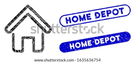 Mosaic home and distressed stamp seals with Home Depot caption. Mosaic vector home is created with random rectangles. Home Depot stamp seals use blue color, and have round rectangle shape.