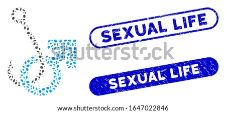 Mosaic hooked male symbol and corroded stamp seals with Sexual Life phrase. Mosaic vector hooked male symbol is created with scattered oval dots. Sexual Life stamp seals use blue color,