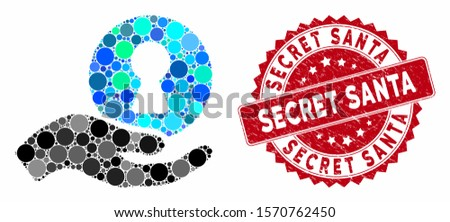 Mosaic insider hand and corroded stamp seal with Secret Santa phrase. Mosaic vector is formed with insider hand icon and with random circle elements. Secret Santa stamp seal uses red color,