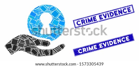 Mosaic insider hand icon and rectangular Crime Evidence seal stamps. Flat vector insider hand mosaic pictogram of random rotated rectangular items.