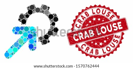 Mosaic integration cog and corroded stamp seal with Crab Louse caption. Mosaic vector is created with integration cog icon and with randomized round spots. Crab Louse stamp seal uses red color,