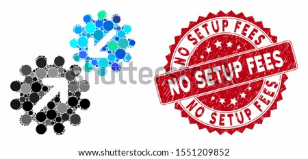 Mosaic integration gears and rubber stamp seal with No Setup Fees text. Mosaic vector is composed from integration gears icon and with random round items. No Setup Fees stamp seal uses red color,