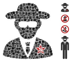 Mosaic KGB spy icon organized from square items in different sizes and color hues. Vector square elements are organized into abstract mosaic KGB spy icon. Bonus icons are placed.