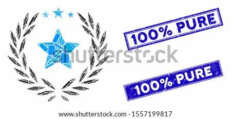 Mosaic laurel star emblem pictogram and rectangular rubber prints. Flat vector laurel star emblem mosaic pictogram of scattered rotated rectangular items.
