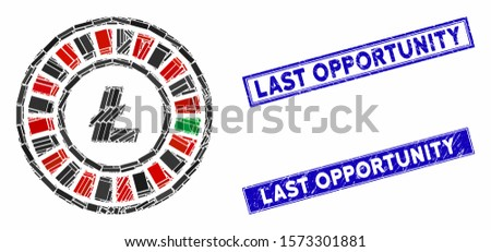 Mosaic Litecoin roulette pictogram and rectangle Last Opportunity seal stamps. Flat vector Litecoin roulette mosaic pictogram of randomized rotated rectangle items.