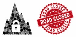 Mosaic locked tunnel and grunge stamp seal with Road Closed caption. Mosaic vector is created with locked tunnel icon and with random spheric spots. Road Closed stamp seal uses red color,