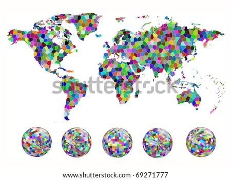 Mosaic map and globe of the world. EPS10 vector illustration.