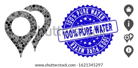 Mosaic map pointers icon and grunge stamp seal with 100% Pure Water text. Mosaic vector is formed with map pointers icon and with random spheric spots. 100% Pure Water stamp seal uses blue color,