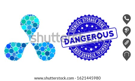 Mosaic map pointers icon and rubber stamp seal with Chemical Storage Zone Dangerous phrase. Mosaic vector is created from map pointers icon and with randomized spheric items.