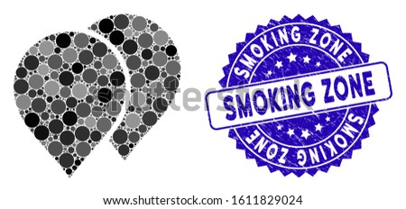 Mosaic map pointers icon and rubber stamp seal with Smoking Zone phrase. Mosaic vector is formed with map pointers icon and with random spheric items. Smoking Zone stamp seal uses blue color,