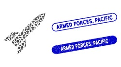 Mosaic missile and rubber stamp seals with Armed Forces, Pacific text. Mosaic vector missile is designed with random elliptic dots. Armed Forces, Pacific stamp seals use blue color,