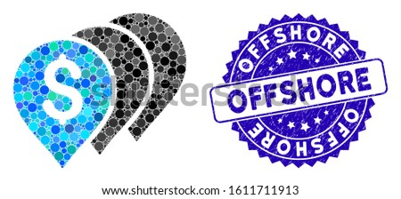 Mosaic money map pointers icon and distressed stamp seal with Offshore phrase. Mosaic vector is created with money map pointers icon and with scattered spheric elements.