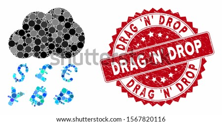 Mosaic money rain and distressed stamp watermark with Drag 'N' Drop phrase. Mosaic vector is composed with money rain icon and with randomized round items. Drag 'N' Drop stamp seal uses red color, Foto stock ©