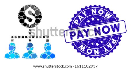 Mosaic money recipients icon and grunge stamp watermark with Pay Now caption. Mosaic vector is composed with money recipients icon and with randomized round items. Pay Now stamp seal uses blue color,