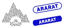 Mosaic mountain tunnel and distressed stamp watermarks with Ararat phrase. Mosaic vector mountain tunnel is composed with random oval items. Ararat stamp seals use blue color,