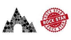 Mosaic mountain tunnel and rubber stamp watermark with Rock Star caption. Mosaic vector is designed from mountain tunnel icon and with scattered spheric elements. Rock Star stamp seal uses red color,