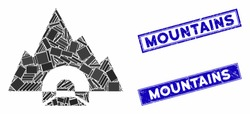Mosaic mountain tunnel icon and rectangular seal stamps. Flat vector mountain tunnel mosaic icon of randomized rotated rectangle elements. Blue caption seal stamps with grunge surface.