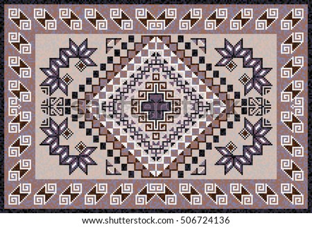 carpet pattern design. Mosaic Navajo Rug With Traditional Folk Geometric Pattern. Native American Indian Blanket. Carpet Pattern Design