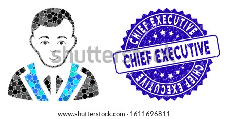 Mosaic noble gentleman icon and rubber stamp seal with Chief Executive text. Mosaic vector is designed with noble gentleman icon and with random circle items.